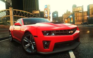 Обои need for speed most wanted 2, машина, chevrolet camaro, ракурс, город, фары