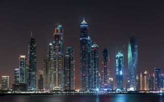 Обои dubai, marina, night, city, lights, united arab emirates
