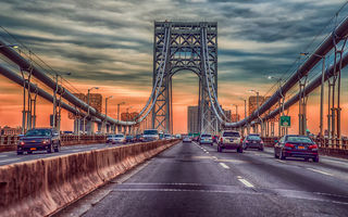 Обои George Washington Bridge, мост, машины