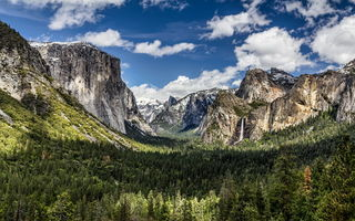 Обои пейзаж, National Park, NorthPines, природа, Halfdome, Glacier Point, панорама, Yosemite Valley, Northern California, Grand, горы, Sierras, California, лес