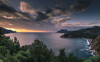 Картинка corsica, coast, mountain, sea, sunset