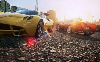 Картинка need for speed most wanted 2, суперкары, pagani huayra, город, солнце, ракурс, chevrolet corvette z06