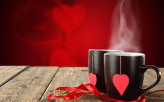 Картинка mugs, cafe, valentine, hot, coffee, love, drink