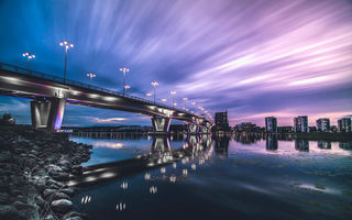 Обои Cityscape, Sky, River, Bridge, Reflection, Sunset, Ligth