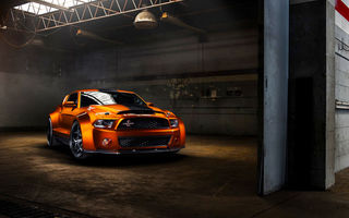 Обои Ford, Car, Shelby, Orange, GT500, Front, Muscle, Mustang