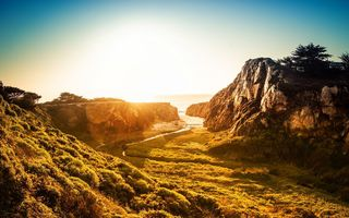Обои Sunset, water, sea, grasslands, rocks
