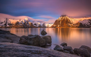 Обои lofoten, island, mountain, sunset, norway