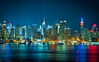 Обои Hudson river, New York city, WTC, город, огни, NY, city skyline, панорама, skyline, небоскребы, ночь