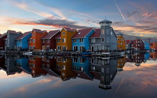 Обои Floating Village, netherlands, groningen