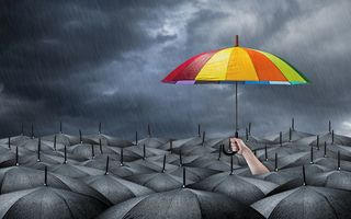 Обои umbrella, darkness, cheerful bright colors, hope, gray