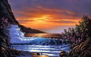 Картинка Sunset Shores, Derk Hansen, bloom, painting, sea, waves, bush, sunset