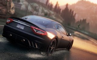 Обои need for speed most wanted 2, брызги, дорога, Maserati GranTurismoгонка