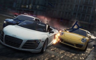 Картинка need for speed most wanted 2, разрушения, гонка, Aston Martin, спорткары, Audi r8, dodge charger, Porsche, полиция, погоня