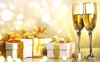 Картинка merry christmas, happy new year, boxes, gifts, Champagne, christmas, ribbon, holiday