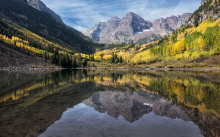 Обои горы, maroon bells, colorado, maroon lake, отражение, озеро, камны, колорадо, лес, марун-беллс