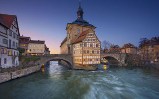 Обои мост, city hall, река регниц, ратуша, regnitz river, бавария, германия, bavaria, бамберг, germany, bamberg