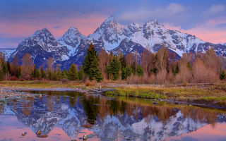 Обои grand teton national park, wy, crystal reflections of grand tetons - schwabacher