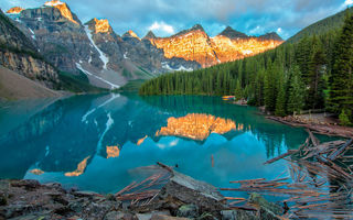 Обои canada, moraine, alberta, lake, mountains, moraine lake, banff national park, yellow