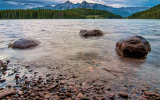 Обои canada, two jack lakeside view, campground, jack, two, alberta, banff national park, lakeside