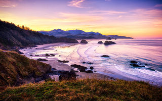 Обои закат, пейзаж, oregon, cannon beach