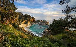 Обои McWay Falls, Калифорния, Big Sur, Julia Pfeiffer Burns State Park, закат, McWay Cove Beach, море, Биг-Сюр, берег, водопад, California, Парк Джулии Пфайфер Берн