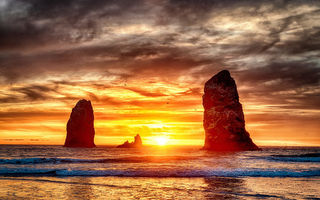 Картинка Sunset at Cannon Beach, пляж, пейзаж