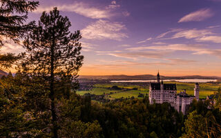 Картинка Sunset Over Schloss Neuschwanstein, Bavaria, Germany, закат, Hohenschwangau, панорама