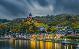 Обои Cochem, Замки Мозеля, мост, Германия в сумерках, город, река Мозель, пейзаж, Кохем-Мозельская Долина, Germany, Mosel, Кохем