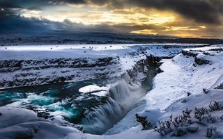 Обои Gullfoss Waterfall, зима, Iceland