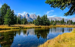 Обои Grand Teton National Park, река, горы, Wyoming