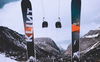 Обои лыжи, зима, winter, канатная дорога, ski, горы, cable car, mountains