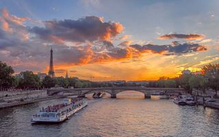 Картинка закат, Eiffel tower, Seine River