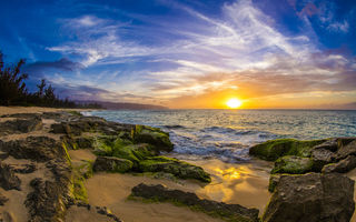 Картинка Beautiful North Shore Sunset on Oahu, закат, Hawaii
