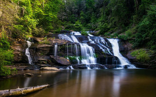 Картинка Panther Creek Falls, природа, лес, водоём, деревья, North Georgia, пейзаж, водопад, скалы