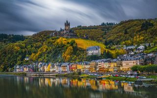 Обои Cochem, пейзаж, Germany, Замки Мозеля, река Мозель, Германия в сумерках, город, Кохем-Мозельская Долина, Кохем, мост, Mosel