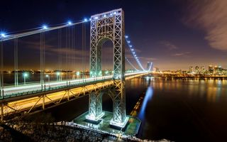 Обои Manhattan, USA, дорога, ночь, Гудзон, New Jersey, Нью-Йорк, George Washington Bridge, свет, Манхэттен, река, огни, NYC, город, Hudson River, США, Нью-Джерси, New York City, мост Джорджа Вашингтона