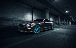 Картинка Ford, Front, Mustang, Vossen, Roush X, Blue, Wheels