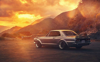 Обои Nissan, Skyline, GTX, Old, 2000, Rear, Sunset, Car