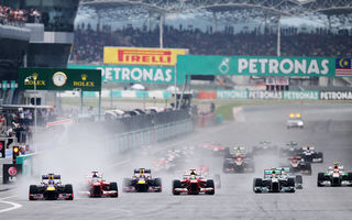 Картинка гонка, race, формула 1, mclaren, start, lotus, formula 1, гран-при Малайзии, старт, force india, grand prix Malaysia, ferrari, red bull, mercedes