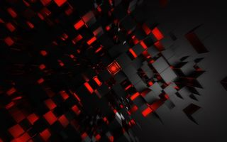 Обои red, cubic, art, digital art, red art, endless