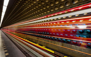 Обои long exposure, metro, prague, light, light trails