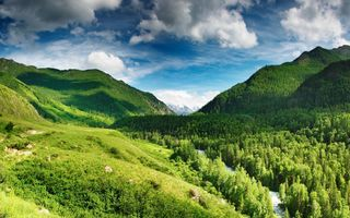 Обои river, горы, nature, природа, деревья, река, mountains, trees