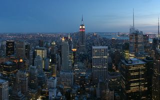 Обои new york, empire state building, город, панорама