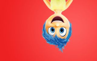 Обои Walt Disney Studios Motion Pictures, happiness, Inside Out, Joy, feelings, emotions, 2015, character, adventure, Pixar Animation Studios, dress, girl, blue eyes, five emotions, blue hair, upside down