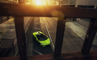 Обои Downtown, Roadster, Lamborghini, Green, Aventador, LP700-4, Sunset, City, Chicago, Supercar, Front