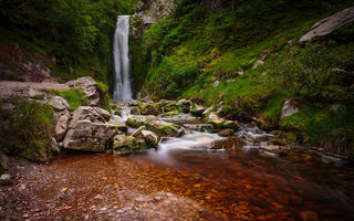 Обои водопад, Glenevin Waterfall, камни, Ирландия, Ireland