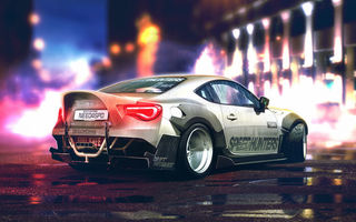 Обои Car, GT86, White, Rear, Sport, YASIDdesign, Toyota
