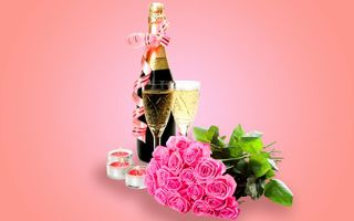 Обои flowers, glass, roses, champagne, romantic, Valentine's Day, шампанское, розы, бокалы