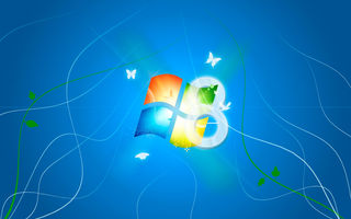 Обои Microsoft, ОС, синий фон, логотип, WIndows 8