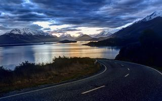 Обои New Zealand, road, landscape, nature, озеро, природа, clouds, облака, sky, пейзаж, lake, Небо, горы
